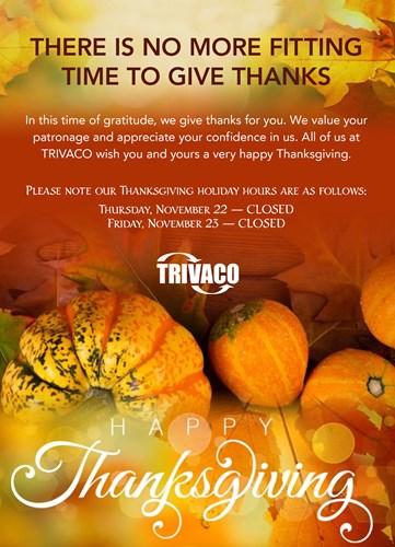 Happy Thanksgiving   Tri-State Valves & Controls, Inc    TRIVACO